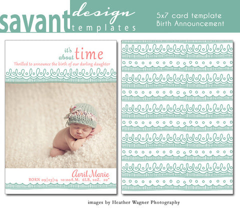 Birth Announcement Photo Card Template - Thrilled
