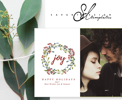 Christmas Holiday Card Template Joy, Christmas Photoshop Template with hand drawn wreath, INSTANT DIGITAL FILE DOWNLOAD, CC417