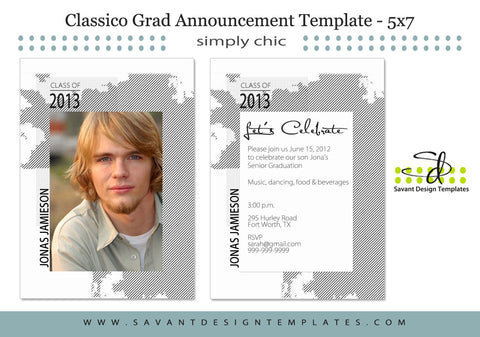 Classico Senior Guys Grad Announcement Card