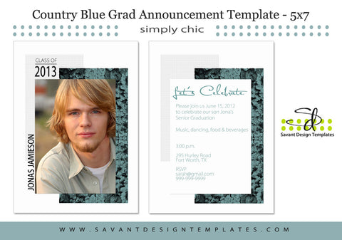 Country Blue Senior Guys Grad Announcement Card