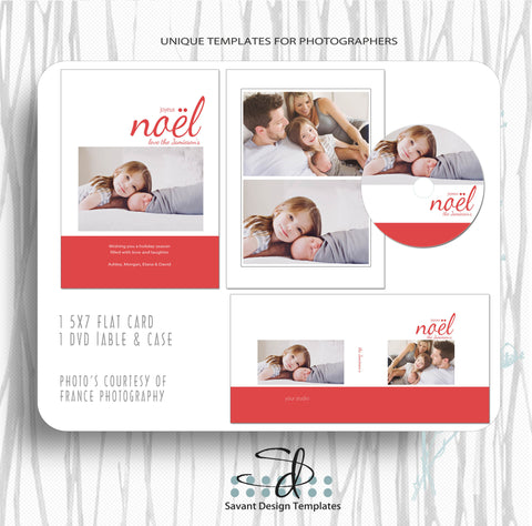Noel Card Template Set for photographers by Savant Design Templates
