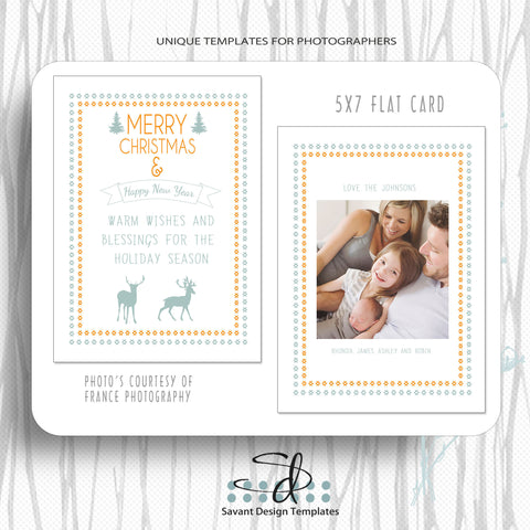 Christmas Card Template Warm Wishes for photographers by Savant Design Templates
