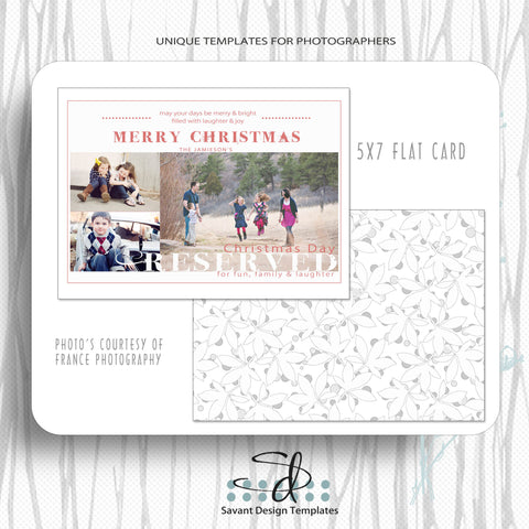 Christmas Card Template Merry and Bright by Savant Design Templates