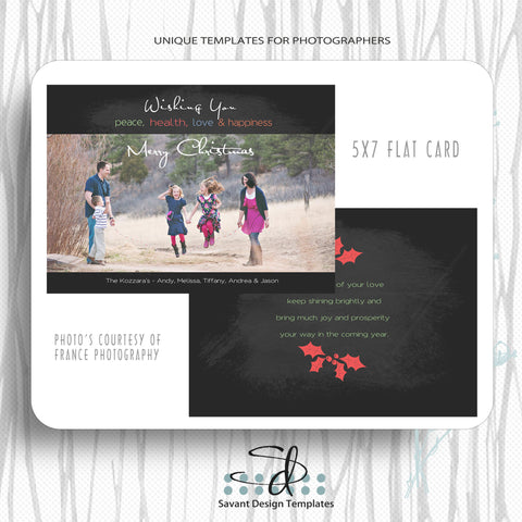 Peace, Health, Love and Happiness Christmas Card Template for photographers by Savant Design Templates