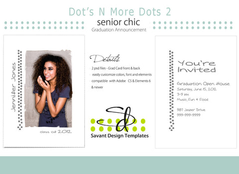 Savant Design Templates Senior Girls Grad Card - Dot's N More Dots 2