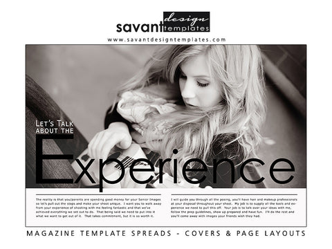 Magazine Template Experience 2 Design for Senior Photographers by Savant Design Templates
