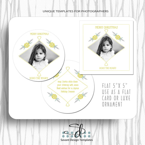 Christmas Luxe 5x5 Ornament Template by Savant Design Templates