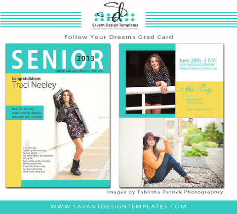 Grad Card Template - Follow Your Dreams