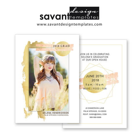 Graduation Announcement Template - Photoshop photo card template - INSTANT DOWNLOAD Splash of Gold by Savant Design Templates