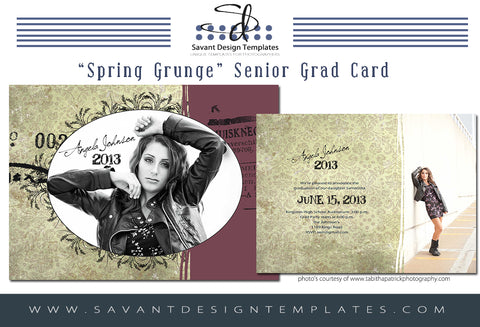 Grad Card Template - Spring Grunge