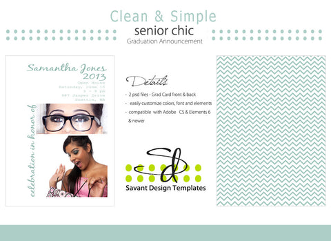 Savant Design Templates Clean & Simple Senior Girls Grad Card
