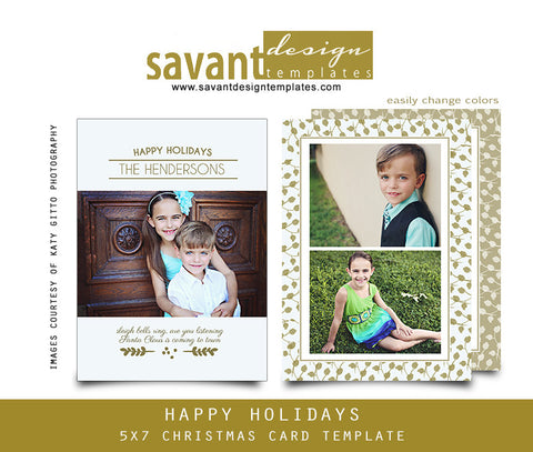 Christmas Photo Card Template for Photographers, Happy Holiday Classic Gold by Savant Design Templates