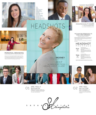 Photoshop Template Headshot Guide, Welcome Magazine, Pricing Guide, Photography Marketing Branding Template, HG100