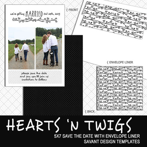 Save the Date Card Template - Hearts N Twigs