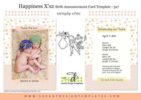 Happiness X's 2 Birth Announcement Card