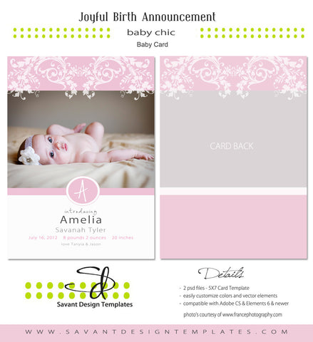 Joyful Baby Birth Announcement Card