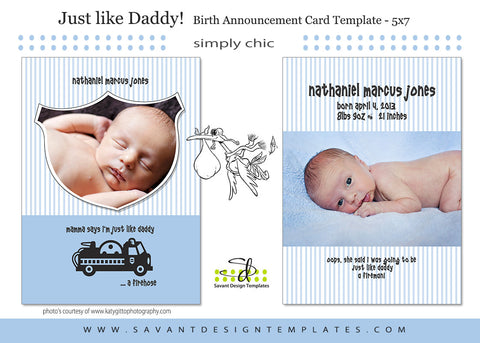 Just Like Daddy Birth Announcement Card