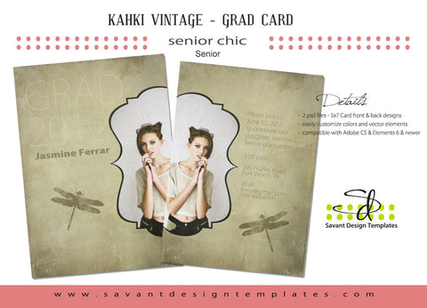 Savant Design Templates Kahki Vintage Senior Girls Template