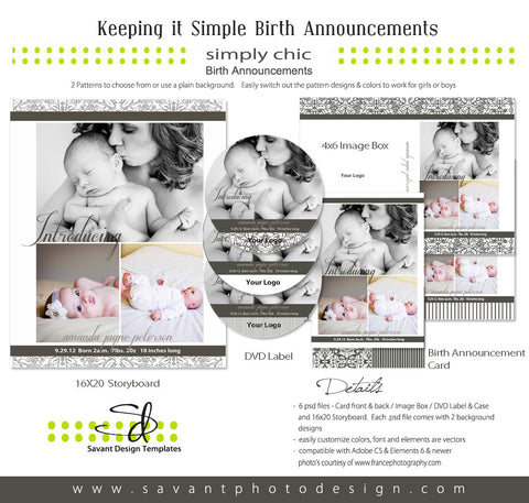 Keeping it Simple 2 Birth Announcement Card Set
