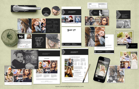 Senior Photography Marketing Set, Welcome Guide, Marketing Templates for Photographers, Branding Package, Photoshop Templates