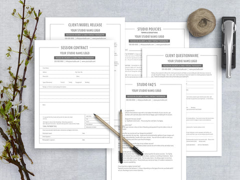 Modern Photography Business Forms and Contract Template Set, Marketing Photoshop Templates, SKUPB101