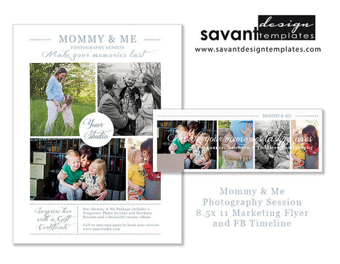 Mommy & Me Photography Studio Marketing Flyer and Facebook Timeline Photoshop Templates