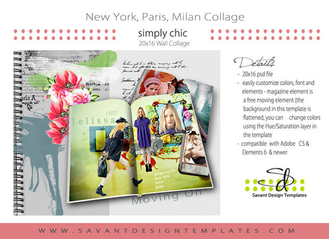 Storyboard / Collage Photoshop Wall Art Template - 16 x20 New York Paris Milan