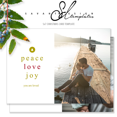 O Christmas Tree, sharing Peace, Love & Joy with this Holiday Card Template by Savant Design Templates