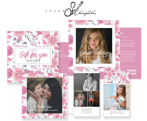 Photography Marketing & Business Form Set, Floral Watercolor by Savant Design Templates