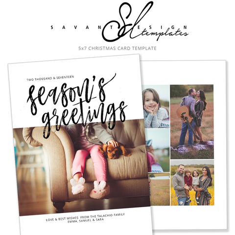Seasons Greetings Christmas Cards, Photoshop Template, Photo Christmas Card, Calligraphy Card, Photo Collage Card, Holiday Photo Card, CC413