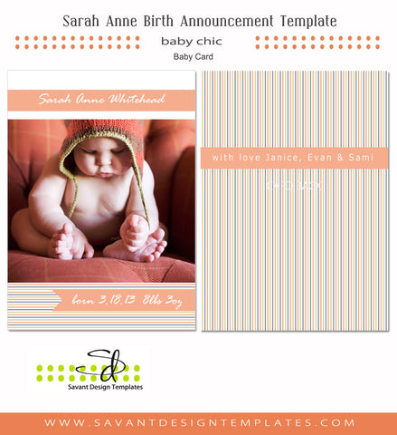 Sarah Anne Birth Announcement Card
