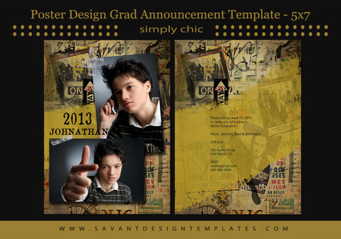 Poster Boy Senior Guys Grad Announcement Card