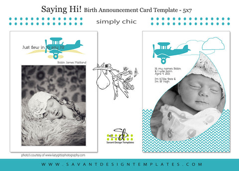 Saying Hi! Birth Announcement Card