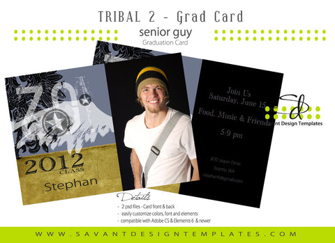 Tribal 2 Senior Guys Grad Announcement Card
