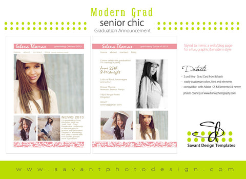 Style Me Modern Senior Girls Card Style Me Modern Senior Girls Card Template