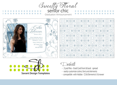 Sweetly Floral Grad Card Photography Photoshop Template