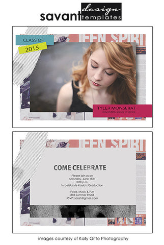 Teen Spirit Grad Announcement by Savant Design Templates