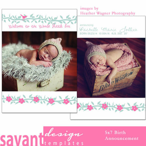 Birth Announcement Photo Card Template - Welcome