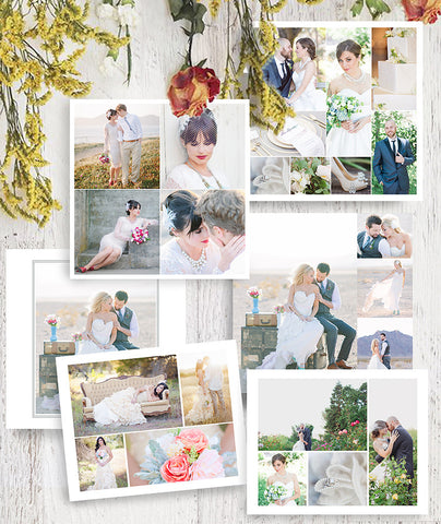 Wedding Collage Photoshop Template Collection, Wedding Storyboards, Blog Boards, Albums, SC100, INSTANT DOWNLOAD