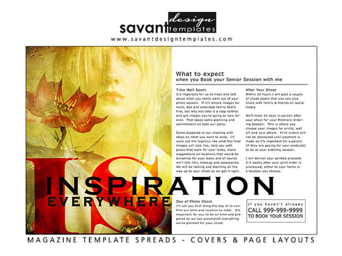 Magazine Template Index Design for Senior Photographers by Savant Design Templates