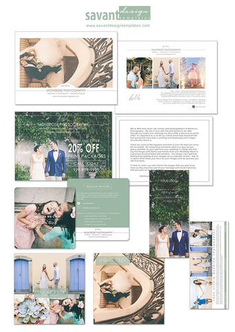 Photography Marketing Templates for Wedding Photographers-PSD Template, Pricing Guide, Logo, Business Card, Facebook Cover, INSTANT DOWNLOAD