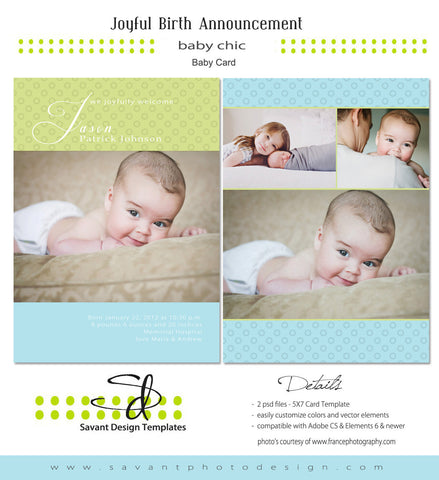 Joyful2 Birth Announcement Card