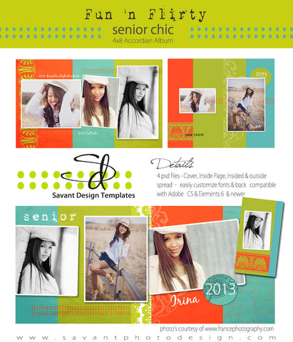 senior photoshop 4x8 Accordian Album Template by Savant Design Templates