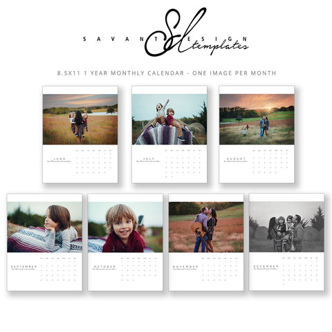 2017 - 2018 Photo Wall Calendars, North American 2 year Calendar, Family First, Photoshop Template, 8X11 Calendar, C150, INSTANT Download by Savant Design Templates