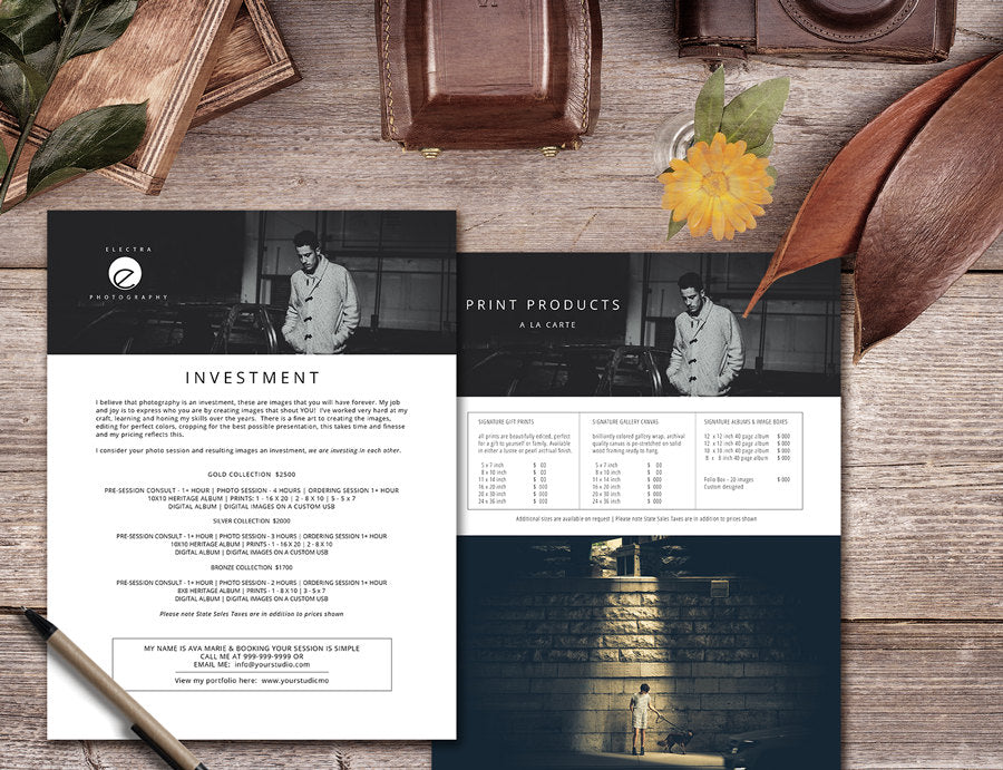 price guide for photographers photoshop template pricing list pg25
