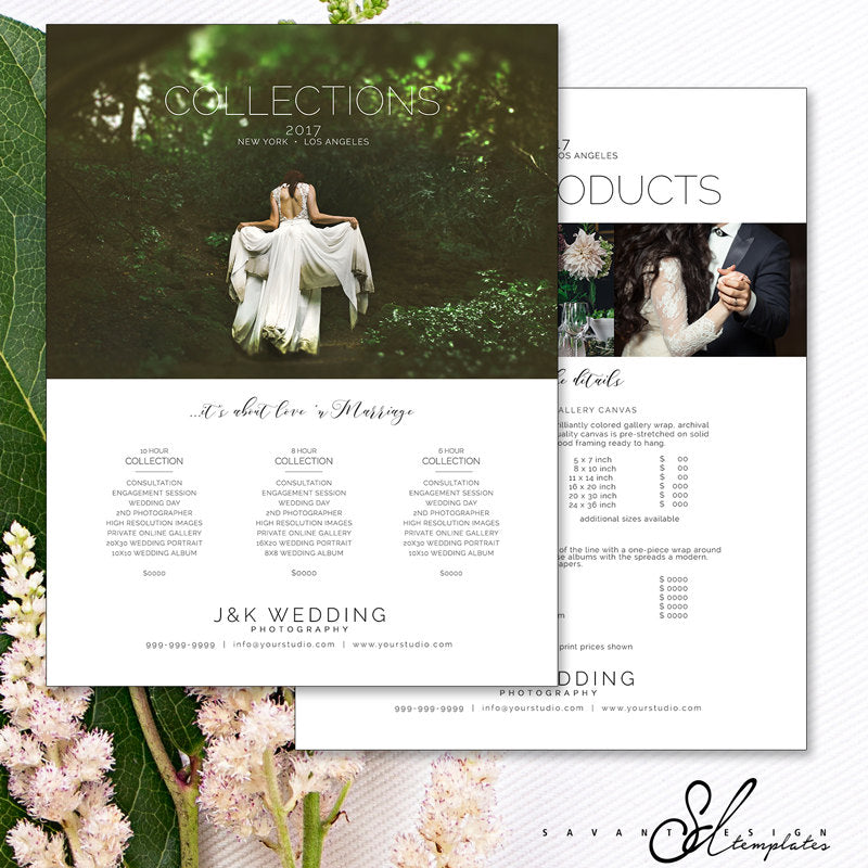 Pricing Guide Wedding Photography, Photoshop Template for Photographer