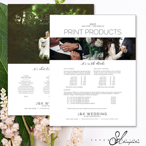 Pricing Guide Wedding Photography, Photoshop Template for Photographers, Price List Template, PGW120