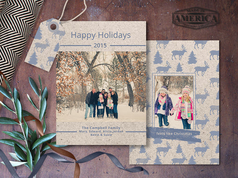 Feels Like Christmas Christmas Card Template - 5x7 Photoshop Holiday Card Template in a Kraft Paper Card style - CC220 - INSTANT DOWNLOAD