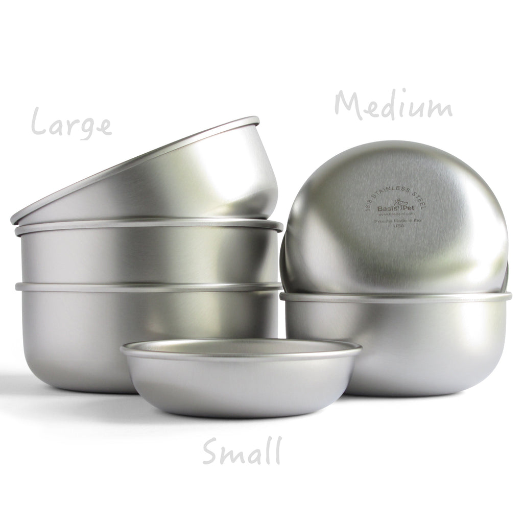 basis pet stainless steel dog bowl made in usa group view - Dog Bowls