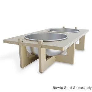 Rise Pet Bowl Stand for Large Bowls, Double Bowl Side View